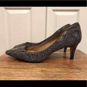 Banana Republic gray python low kitten  heels 9